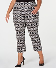 I.N.C. Plus Size Printed Cropped Skinny Pants, Created for Macy's