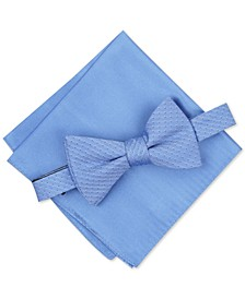 Men's Mini Neat To-Tie Bow Tie & Solid Pocket Square Set, Created for Macy's