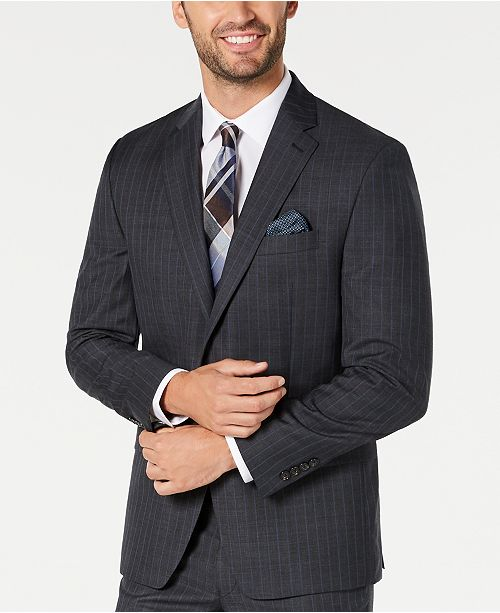 Lauren Ralph Lauren Men's Classic-Fit UltraFlex Stretch Charcoal/Blue Stripe Suit Jacket