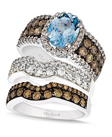 Le Vian Diamond and Aquamarine Stackable Rings in 14k White Gold