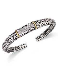 Balissima by EFFY Diamond Swirl Bangle (1/5 ct. t.w.)  in 18k Gold and Sterling Silver