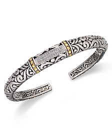 Balissima by EFFY® Diamond Swirl Bangle (1/6 ct. t.w.)  in 18k Gold and Sterling Silver