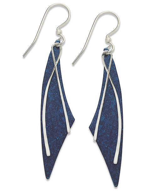 73f96c845 Jody Coyote Patina Bronze Earrings, Blue Long Curve Drop Earrings ...