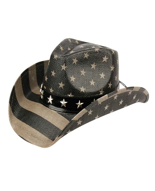 Angela & William American Flag Black Cowboy Hat