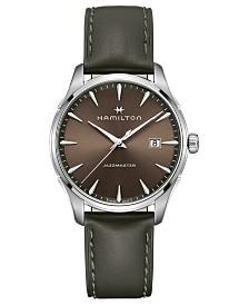 Hamilton Men's Swiss Jazzmaster Brown Leather Strap Watch 40mm