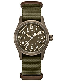 Men's Swiss Mechanical Khaki Field Green Fabric Strap Watch 38mm
