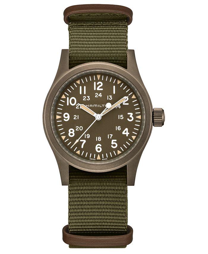 Hamilton - Men's Swiss Mechanical Khaki Field Green Fabric Strap Watch 38mm