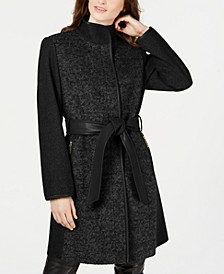 Petite Faux-Leather-Belt Coat