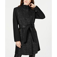 Vince Camuto Twill Wool Faux-Leather Trim Coat (Black)