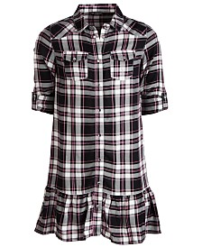 GUESS Big Girls Ruffled Plaid Shirtdress