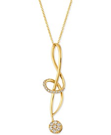 "Vanilla Diamond® (1/3 ct. t.w.) Abstract Swirl 18"" pendant Necklace in 14k Gold"
