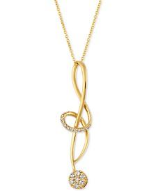 "Le Vian® Vanilla Diamond® (1/3 ct. t.w.) Abstract Swirl 18"" pendant Necklace in 14k Gold"