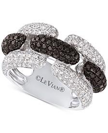 Le Vian Exotics® Vanilla Diamond® (1-1/20 ct. t.w.) & Blackberry Diamond® (3/4 ct. t.w.) Statement Ring in 14k White Gold