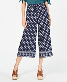 Border-Print Cropped Pants