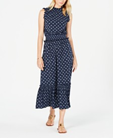 Michael Michael Kors Printed Ruffle-Trim Maxi Dress, Regular & Petite Sizes