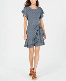 Michael Michael Kors Printed Flutter-Sleeve Dress, Regular & Petite Sizes