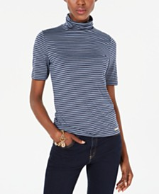 Michael Michael Kors Striped Short-Sleeve Turtleneck Top, Regular & Petite Sizes