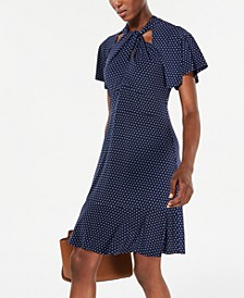 Dot Print Twist-Neck Dress