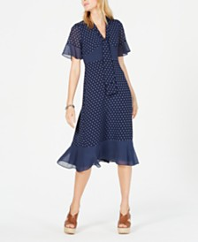 Michael Michael Kors Dot Print Ruffle-Trim Dress