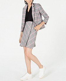 Plaid Notch-Collar Jacket, Inverted-Pleat Top & Plaid Skirt, Created for Macy's