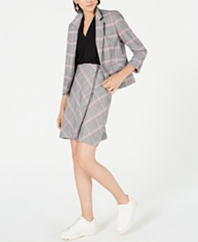 Bar III Plaid Notch-Collar Jacket, Inverted-Pleat Top & Plaid Skirt, Created for Macy's