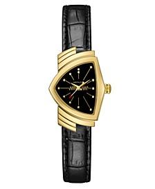 Unisex Swiss Ventura Black Leather Strap Watch 24x36.5mm