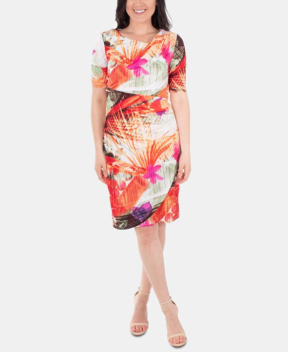 NY Collection Women's Elbow Sleeve Slim Dress