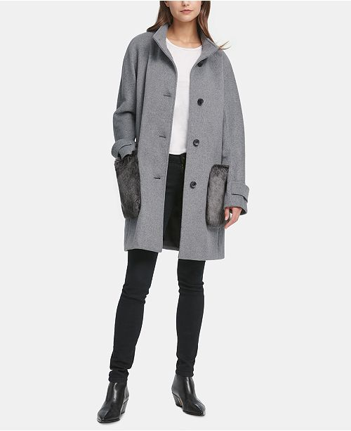 DKNY Faux-Fur-Pocket Walker Coat