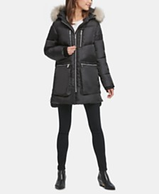 DKNY Petite Faux-Fur-Trim Hooded Puffer Coat