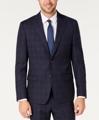 Men's Modern-Fit Stretch Navy/Light Blue Windowpane Suit Separate Jacket
