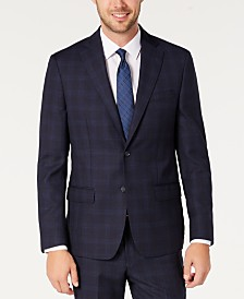 DKNY Men's Modern-Fit Stretch Navy/Light Blue Windowpane Suit Separate Jacket