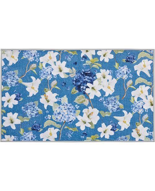 """Nourison Blue Floral 27"""" x 45"""" Accent Rug"""