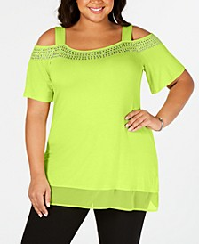 Women's Plus Size Cold-Shoulder Top