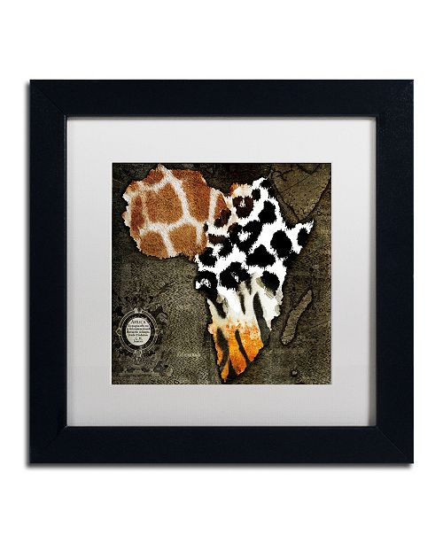"Trademark Global Color Bakery 'Animal Map Of Africa' Matted Framed Art - 11"" x 11"""