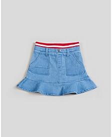 Girls Ribbed Knit Waistband Flounce Skirt