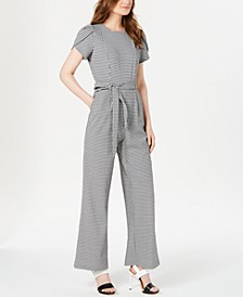 Mini Check Belted Jumpsuit