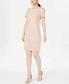 Petite Faux-Suede Scuba Sheath Dress