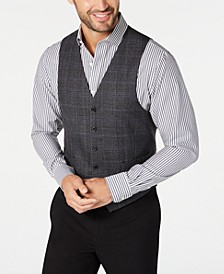 Men's Classic-Fit Dark Gray Glen Plaid Wool Vest