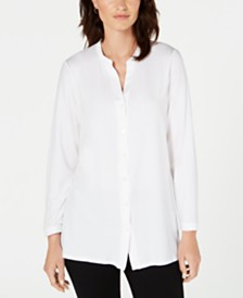 Eileen Fisher Mandarin-Collar Tunic, Regular & Petite