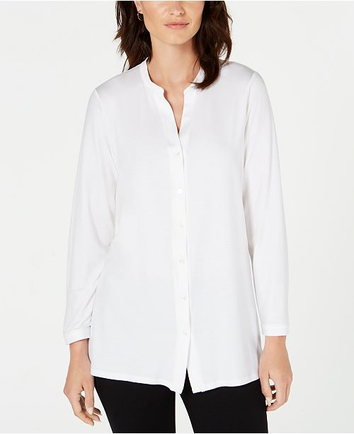 Eileen Fisher Mandarin-Collar Tunic, Regular & Petite
