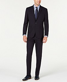 Men's Slim-Fit Ready Flex Stretch Navy Blue Windowpane Suit