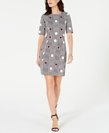 Alfani Petite Mixed-Print Sheath Dress, Created for Macy's