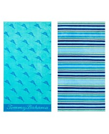 Tommy Bahama Awning Stripe Monaco/Oceans Marlin 2-Pc. Beach Towel Set