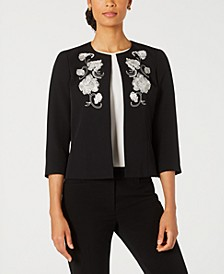 Petite Embroidered Collarless Jacket