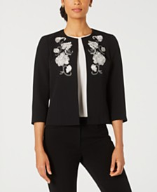 Kasper Petite Embroidered Collarless Jacket