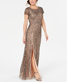 Adrianna Papell Hand-Beaded Mesh Gown