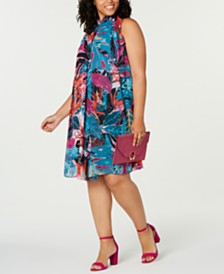 Robbie Bee Trendy Plus Size Mock-Neck Dress