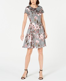 Robbie Bee Petite Floral Menswear-Print Dress