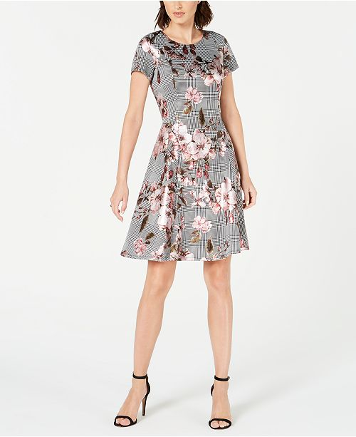 Robbie Bee Petite Floral Menswear-Print Dress