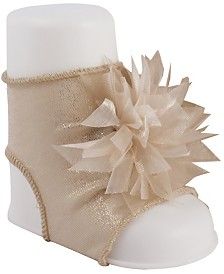 Baby Deer Baby Girl Shimmer Peep Toe Sock with Organza Ribbon Pom